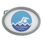 Swimming gifts, swimmer on a blue circle custom oval belt buckle