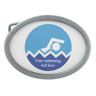 Swimming gifts, swimmer on a blue circle custom belt buckle