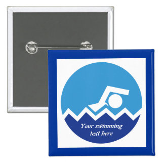 Swimming gifts, swimmer on a blue circle custom 2 inch square button