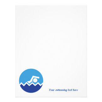 Swimming gifts, swimmer on a blue circle custom letterhead