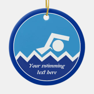 Swimming gifts, swimmer on a blue circle custom christmas tree ornaments