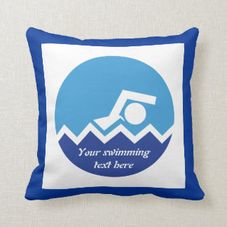 Swimming gifts, swimmer on a blue circle custom pillow
