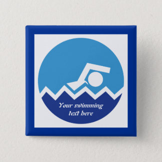 Swimming gifts, swimmer on a blue circle custom pinback button