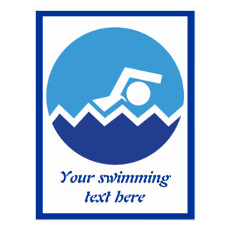 Swimming gifts, swimmer on a blue circle custom post cards