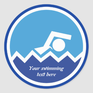 Swimming gifts, swimmer on a blue circle custom stickers