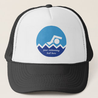Swimming gifts, swimmer on a blue circle custom trucker hat