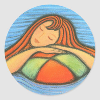 Swimming Girl Classic Round Sticker
