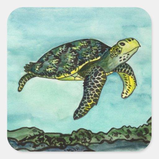 Swimming Green Turtle Square Sticker