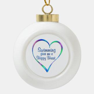 Swimming Happy Heart Ceramic Ball Christmas Ornament