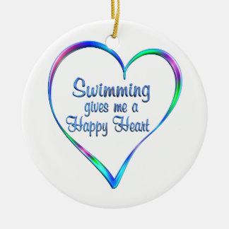 Swimming Happy Heart Ceramic Ornament