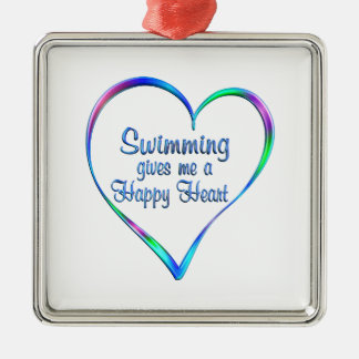 Swimming Happy Heart Metal Ornament