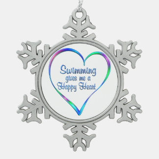 Swimming Happy Heart Snowflake Pewter Christmas Ornament
