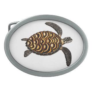 Swimming Hawksbill Sea Turtle Belt Buckle