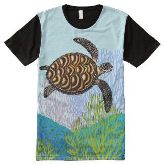 Swimming Hawksbill Sea Turtle Panel Shirt