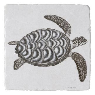Swimming Hawksbill Sea Turtle Stone Trivet Trivets