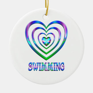 Swimming Hearts Ceramic Ornament