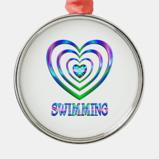 Swimming Hearts Metal Ornament