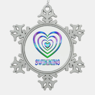 Swimming Hearts Snowflake Pewter Christmas Ornament