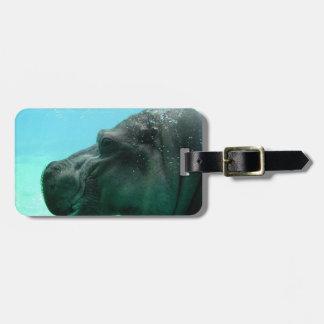 Swimming Hippo Luggage Tag