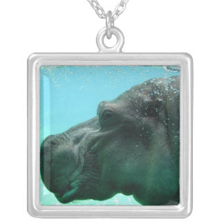 Swimming Hippo  Necklace
