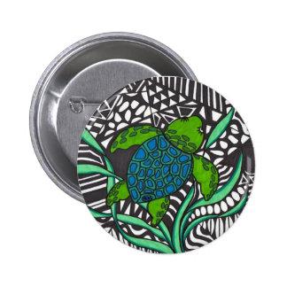 Swimming Honu sea turtle with seaweed Button