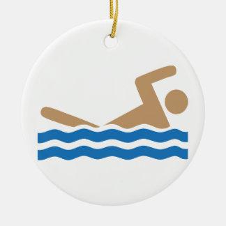 Swimming icon pictograph in color ceramic ornament