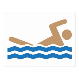Swimming icon pictograph in color postcard