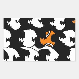 swimming in a sea of black rectangular sticker