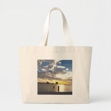 Beach Themed Swimming in Clearwater Large Tote Bag