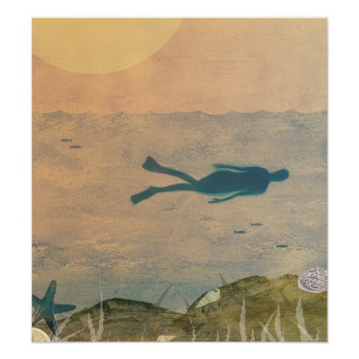 Swimming in the Ocean Poster