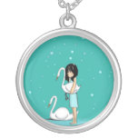 swimming in the sand round pendant necklace