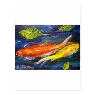 Swimming Koi Fish Postcard