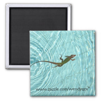 Swimming Lizard 2 Inch Square Magnet