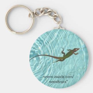 Swimming Lizard Basic Round Button Keychain