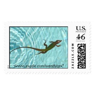 Swimming Lizard Stamp