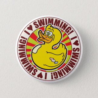 Swimming Love Duck Pinback Button