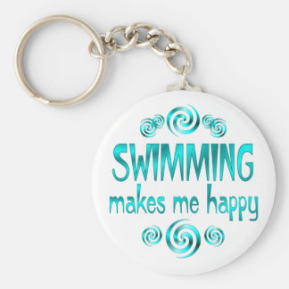 Swimming Makes Me Happy Basic Round Button Keychain