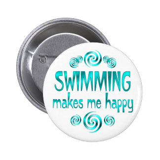Swimming Makes Me Happy Pinback Buttons