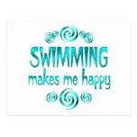 Swimming Makes Me Happy Postcard