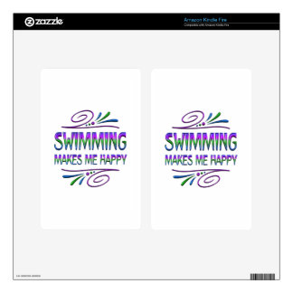 Swimming Makes Me Happy Skins For Kindle Fire