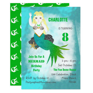 Swimming Mermaid Cute Girly Birthday Party Invite