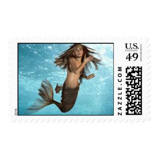 Swimming Mermaid Postage Stamp