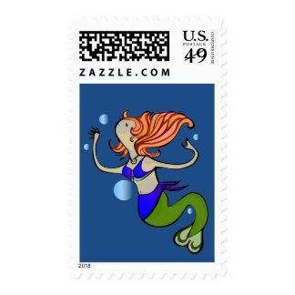 Swimming Mermaid Stamp