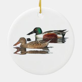 Swimming Northern Shovelers Christmas Ornaments