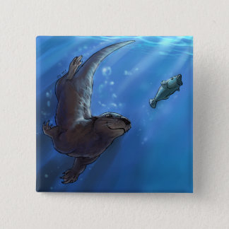 Swimming otter button