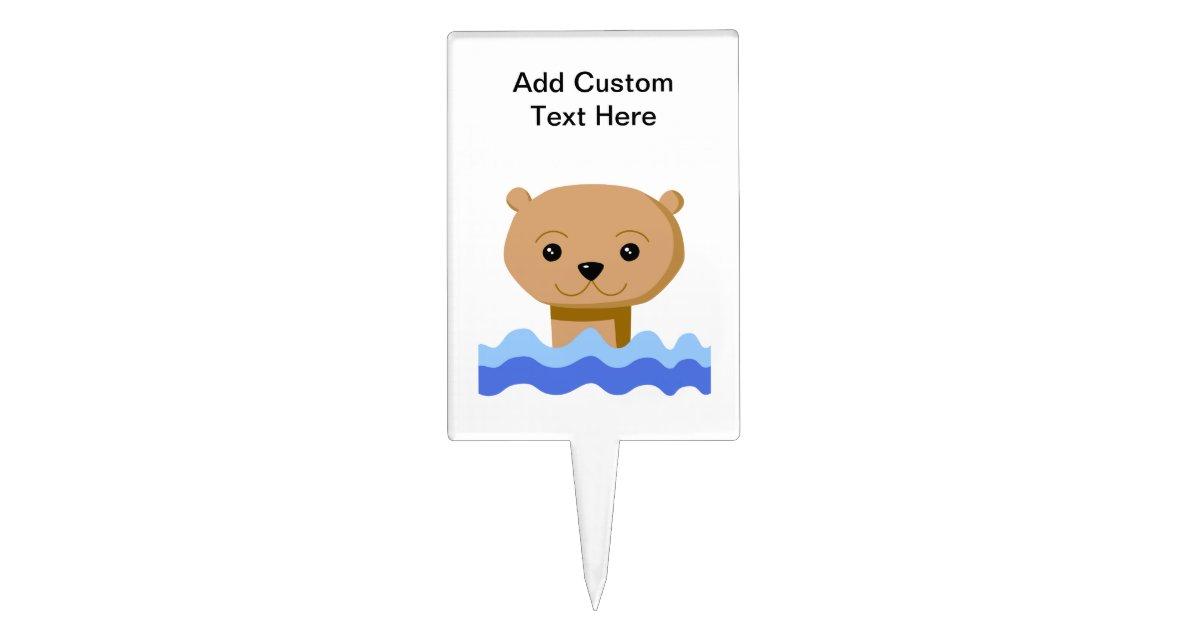 Swimming Otter. Cake Topper   Zazzle.com