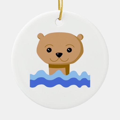 Swimming Otter. Ceramic Ornament