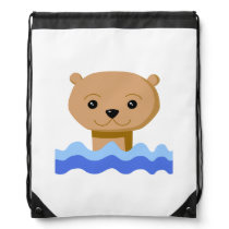Swimming Otter. Drawstring Backpack