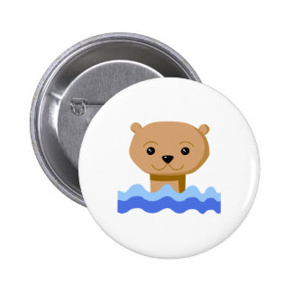 Swimming Otter. Pinback Button