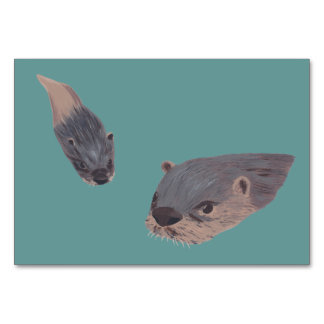 Swimming Otters Custom Flashcards Table Cards